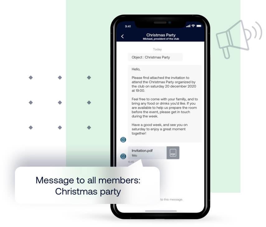 Communicatiemiddel: clubnieuwsbrief, individuele of groepsberichten, documenten delen