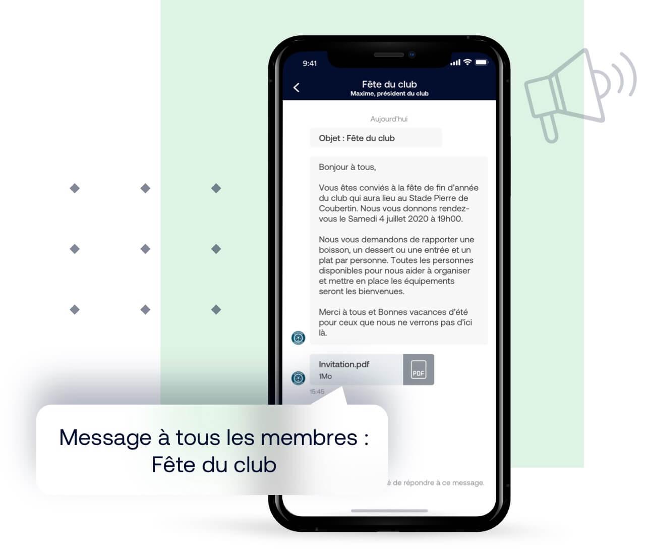 Outil de communication : newsletter du club, message individuel ou groupé, partage de document