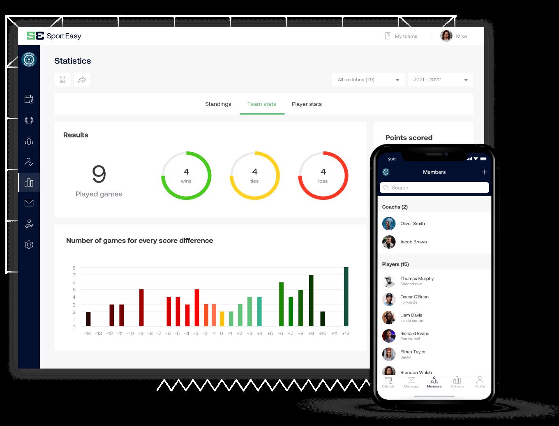 The field hockey SportEasy app