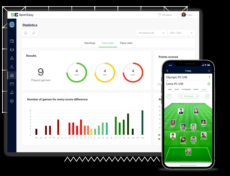 The soccer SportEasy app