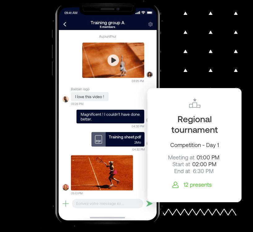 The tennis SportEasy app