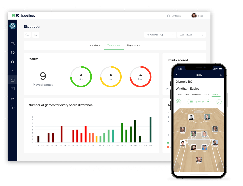 L'app SportEasy di pallacanestro