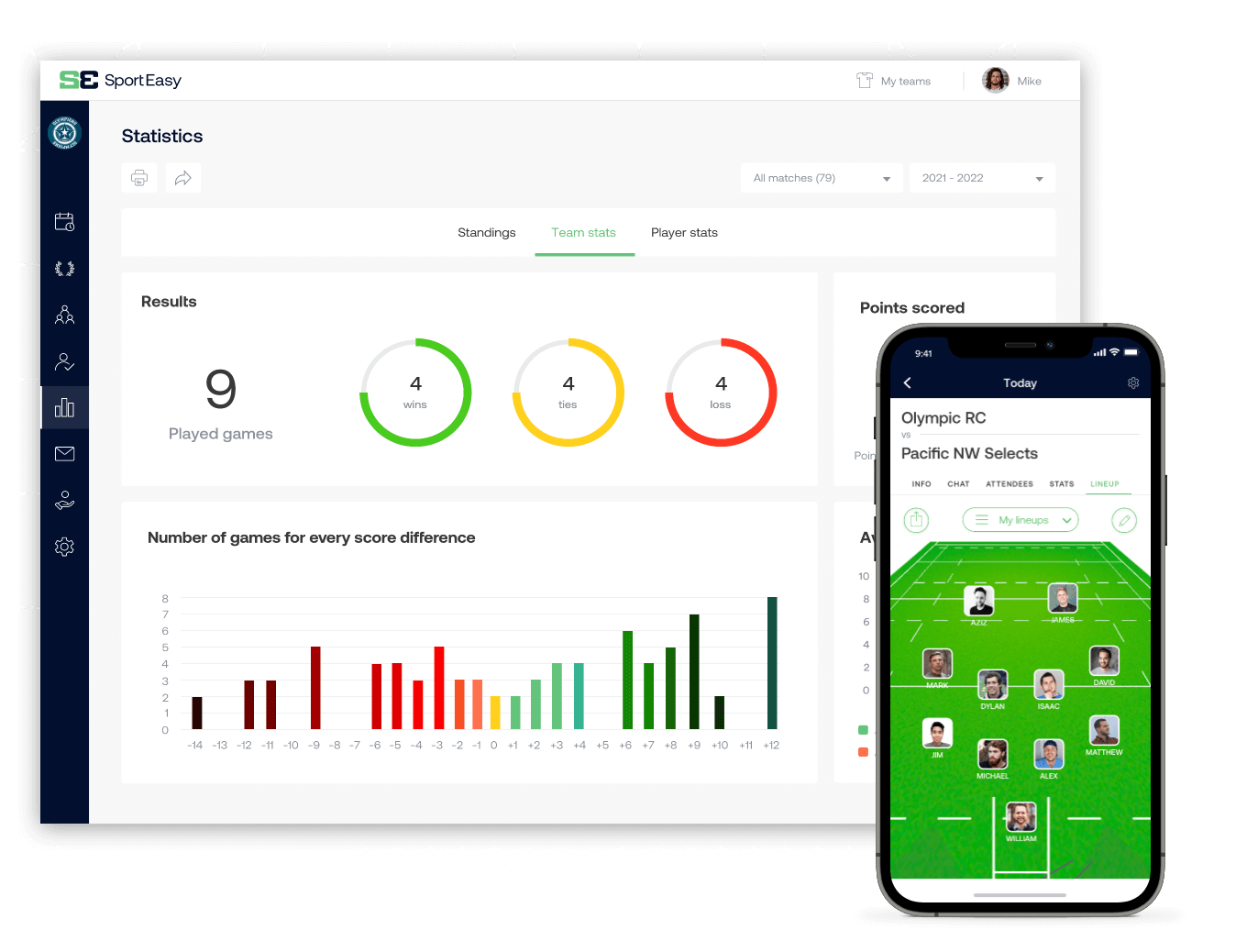The rugby SportEasy app