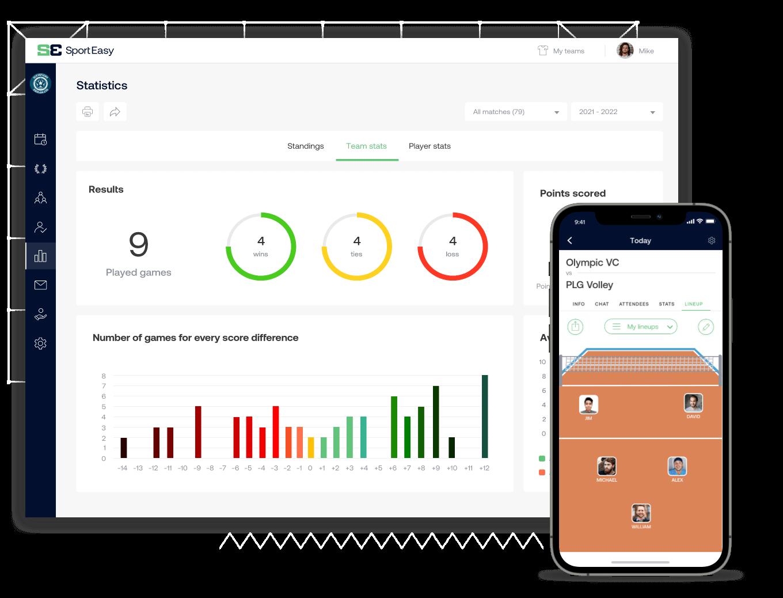 The volleyball SportEasy app
