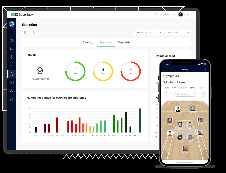The basketball SportEasy app