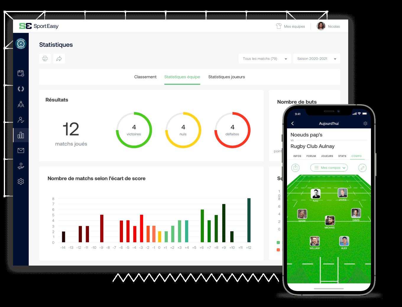 App web et mobile pour équipe de rugby à 7